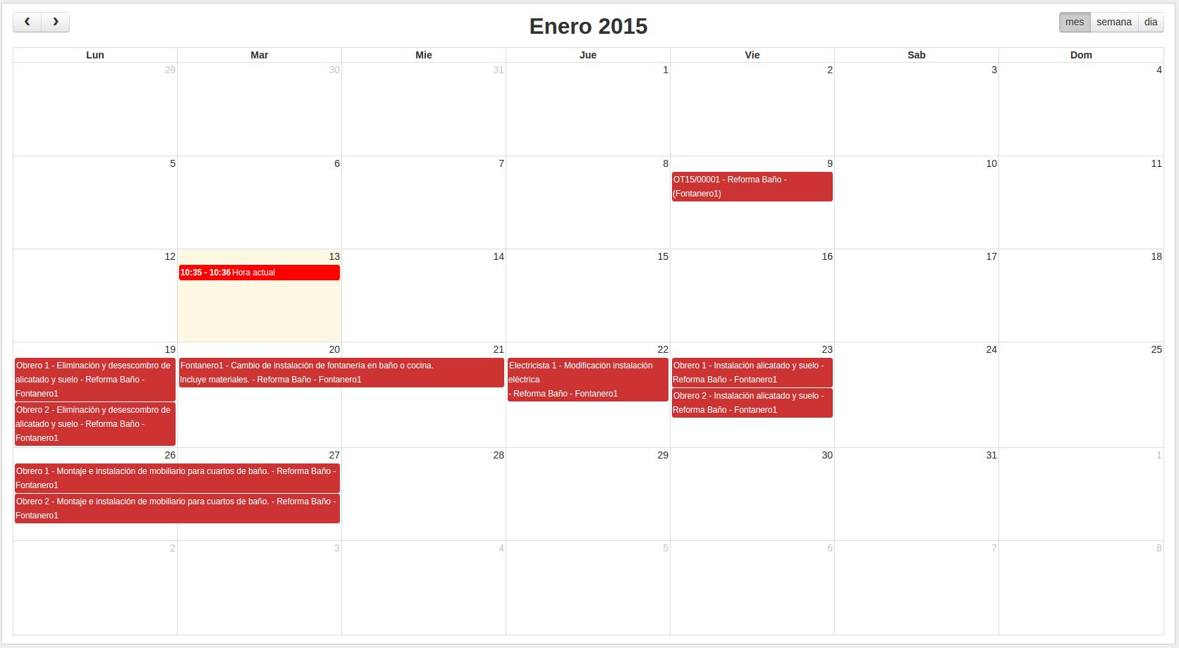 Calendario para gestión orden de trabajo