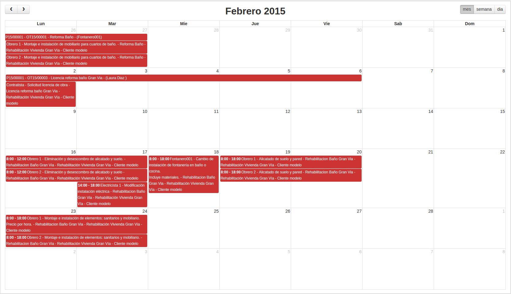 Calendario gestión de proyectos