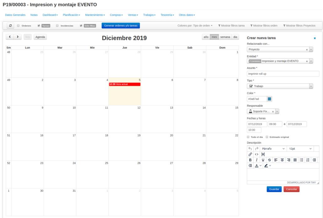 Gestión de empresa: crear tareas en calendario de proyecto