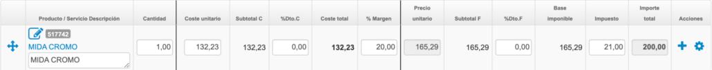 Líneas de cálculo de costes usando una aplicación de gestión en la nube