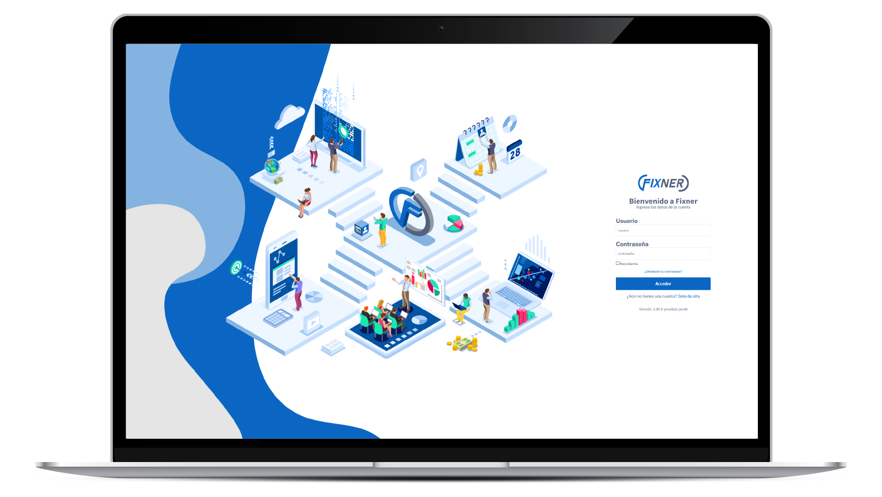 laptop con software de gestion para empresas de servicios en la nube